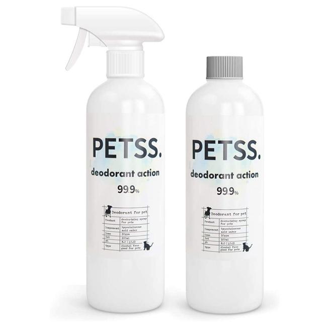 PETSS deodorant action (ペット用消臭税)500mlスプレーボトル×1本+500ml詰替えボトル